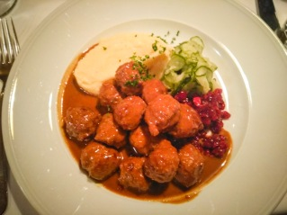 Traditional Swedish meatballs accompanied by Lingonerries and mashed Potato puree